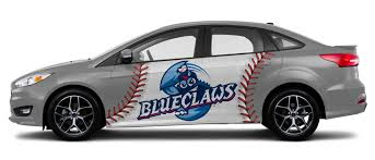 Simple vehicle wrap design with baseball design