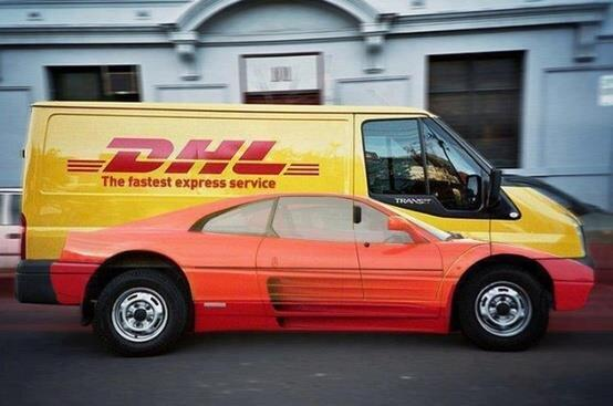 a DHL delivery van with a guerilla marketing wrap design