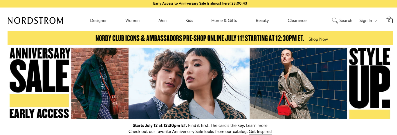 the header of the nordstrom showing a flash sale