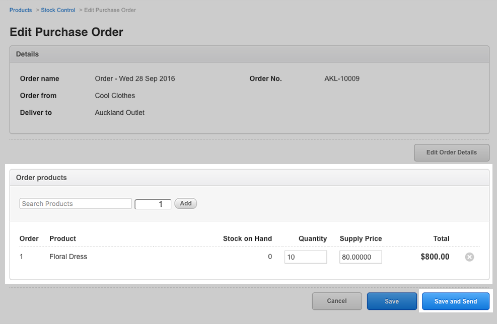 a screenshot of the Vend POS system purchase order screen