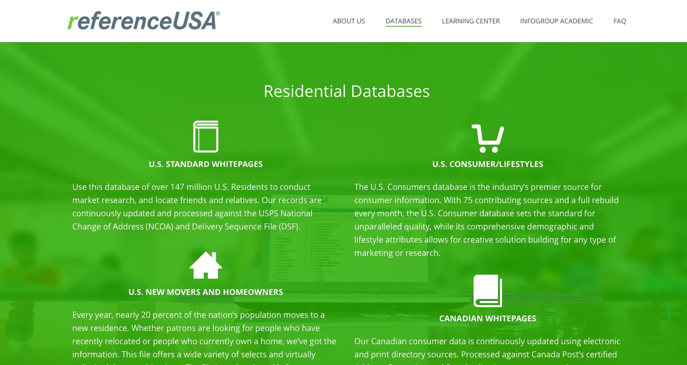 ReferenceUSA databases page