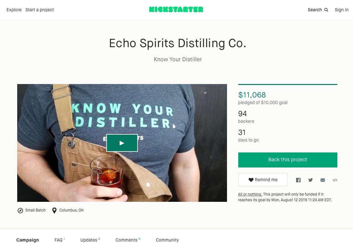 Kickstarter campaign for a distilling business