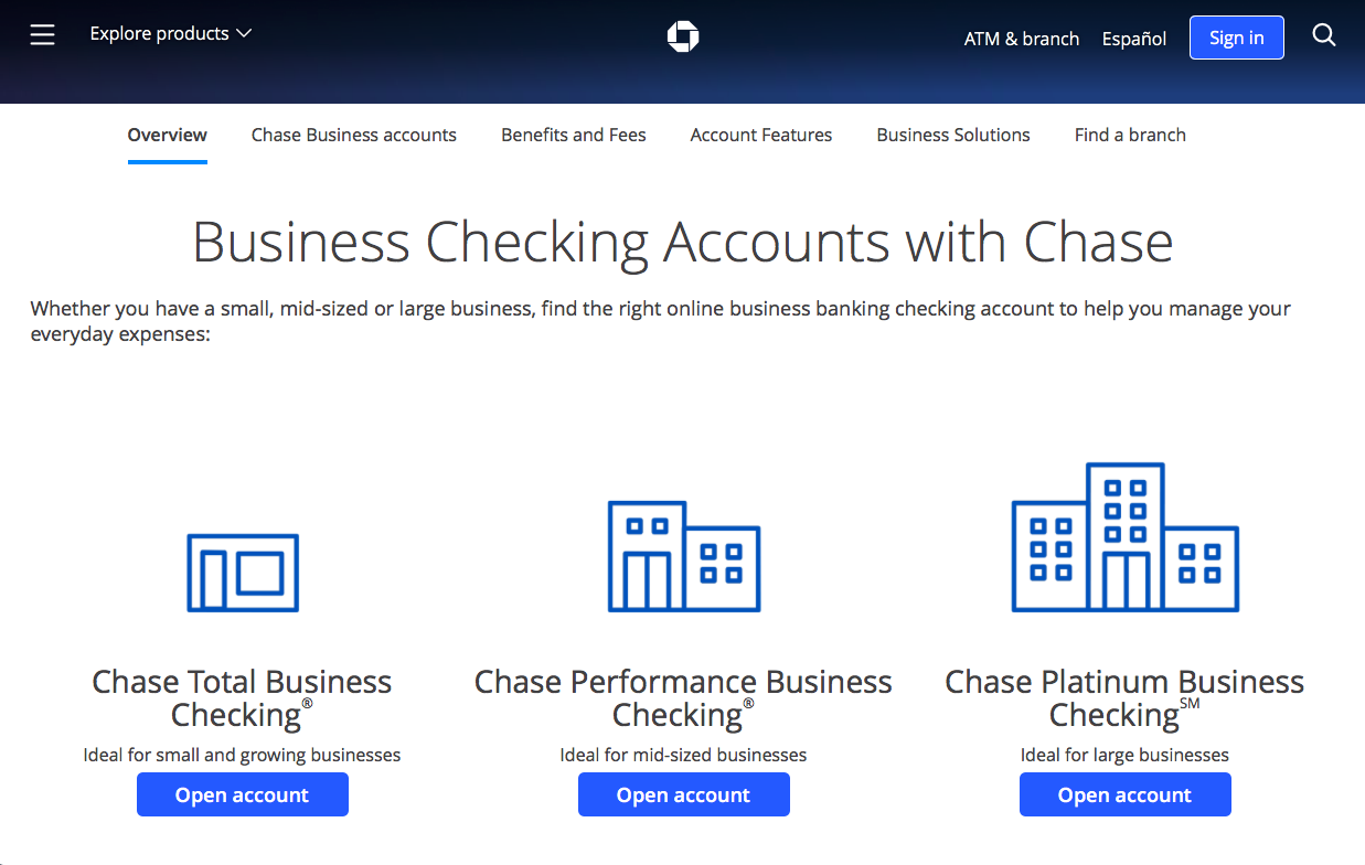 Chase bank checking account overview web page
