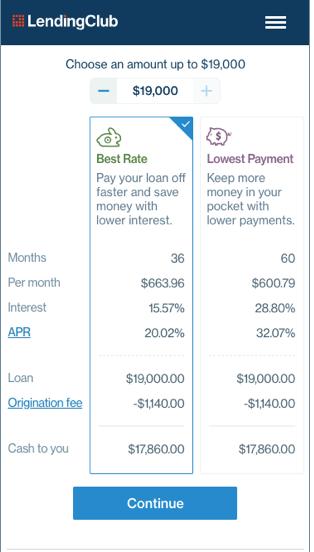LendingClub loan application