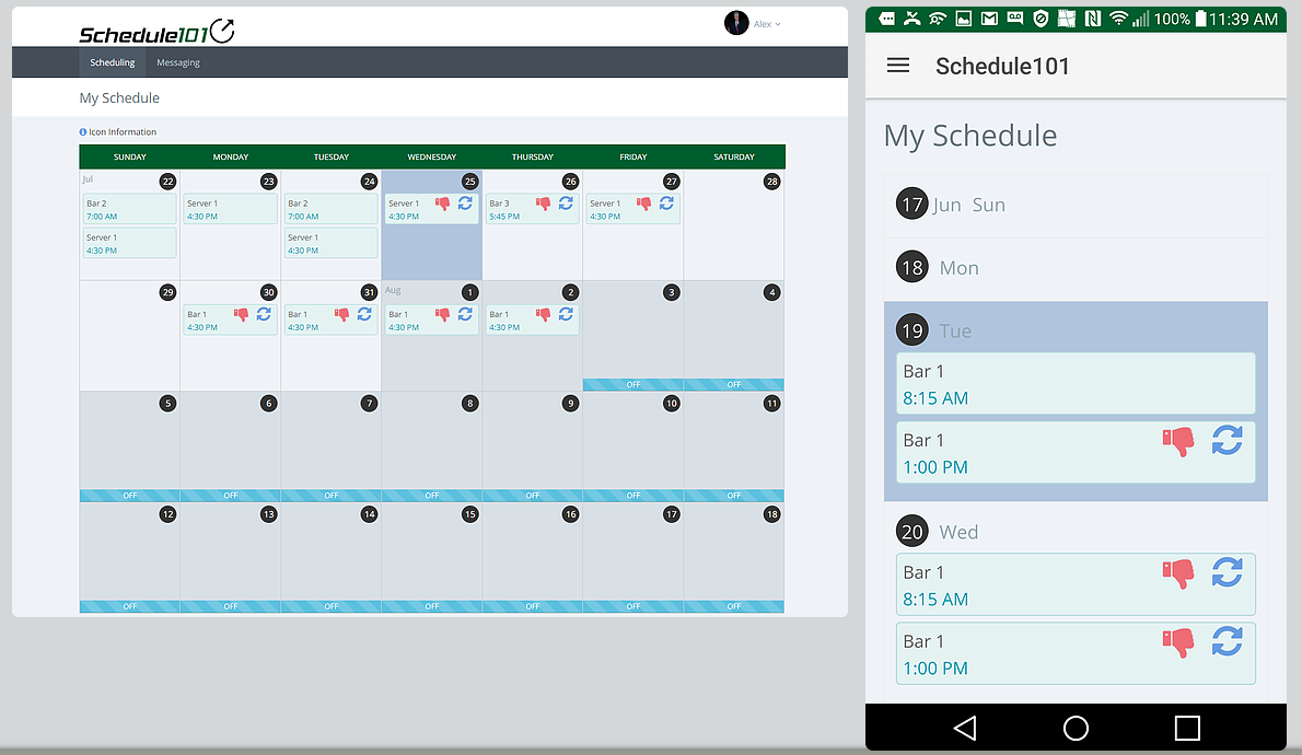 Schedule101 employee scheduling app - restaurant scheduling software
