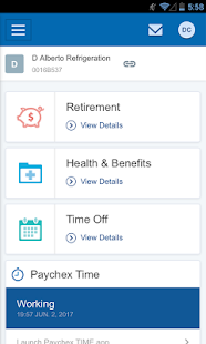 Paychex Flex mobile app screenshot