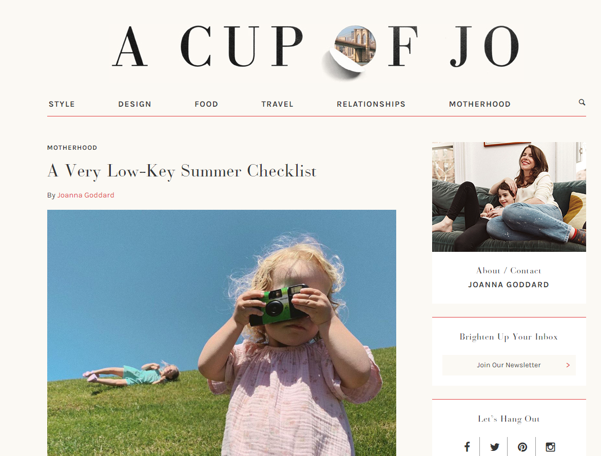 A Cup of Jo blog home page