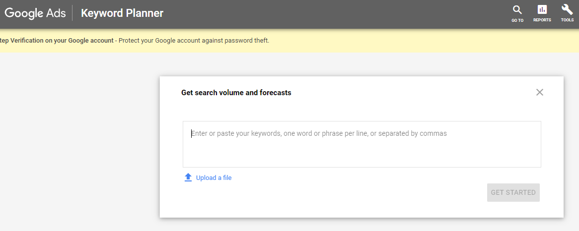 Google Ads Keyword Planner dashboard