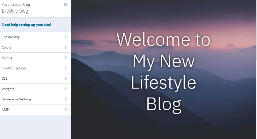 WordPress lifestyle blog customization page