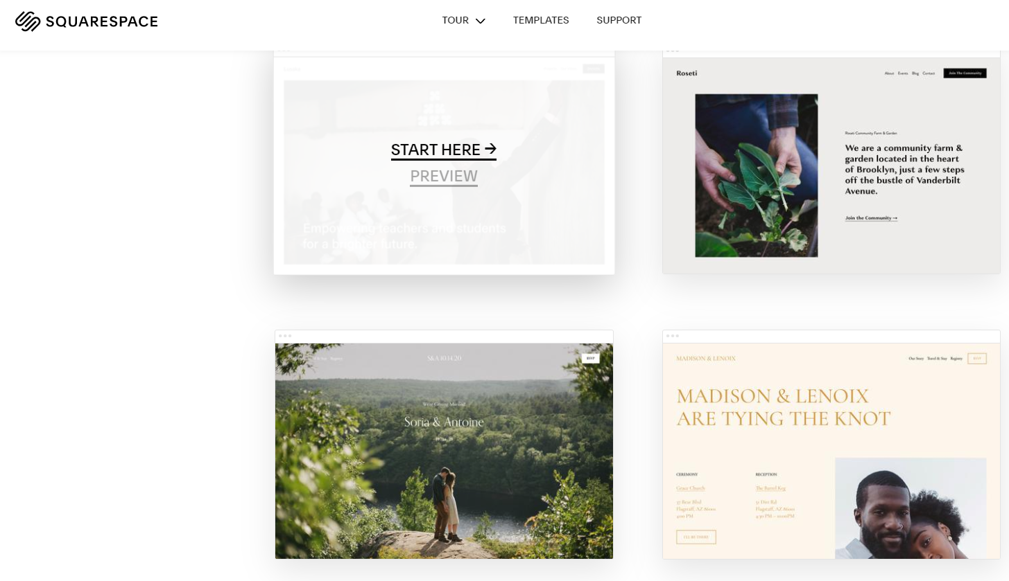 SquareSpace blog template dashboard
