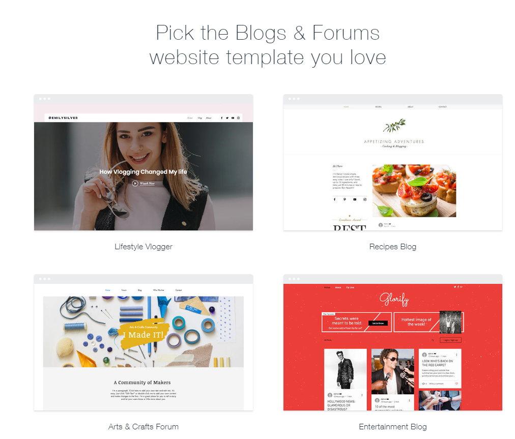 Wix blog template options page