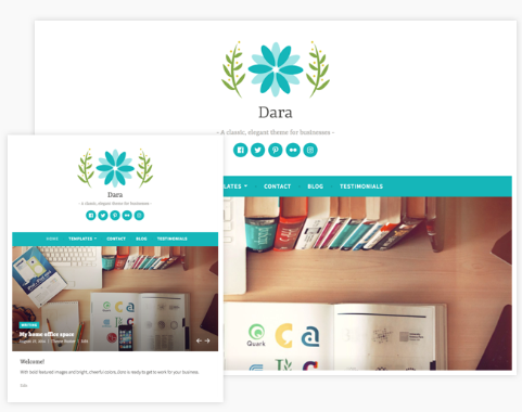 Mockup of Dara WordPress theme available through Bluehost