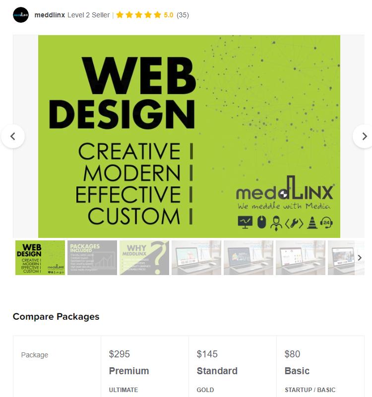 Meddinx website design freelancer on Fiverr website