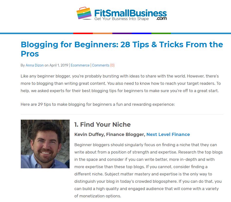 Blogging roundup article on FitSmallBusiness.com