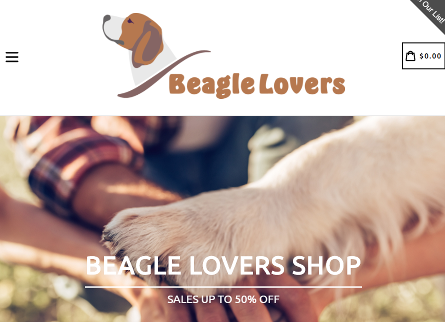 Screenshot of The Beagle Lovers Shop's website