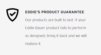 Screenshot of Eddie Bauer's built-to-last product guarantee