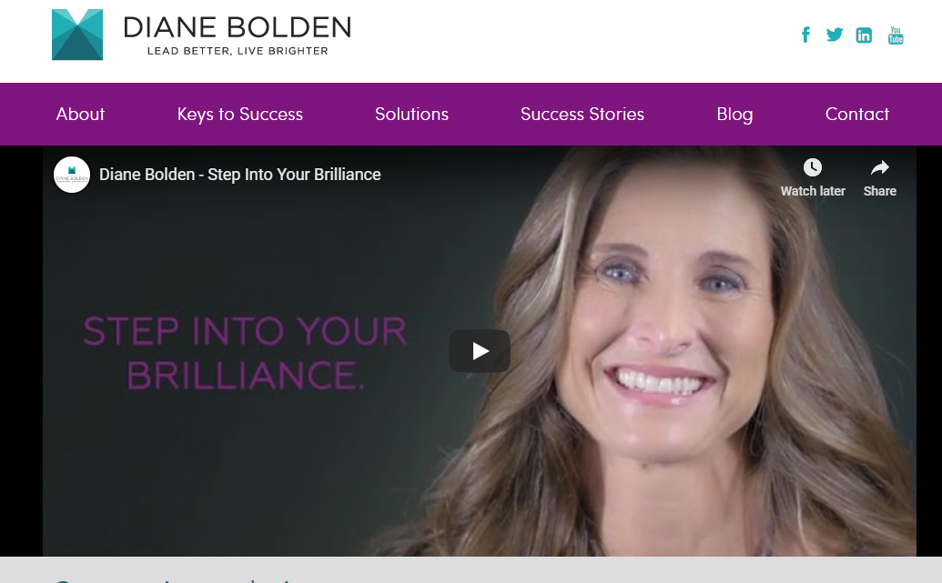 Diane Bolden business coach website home page