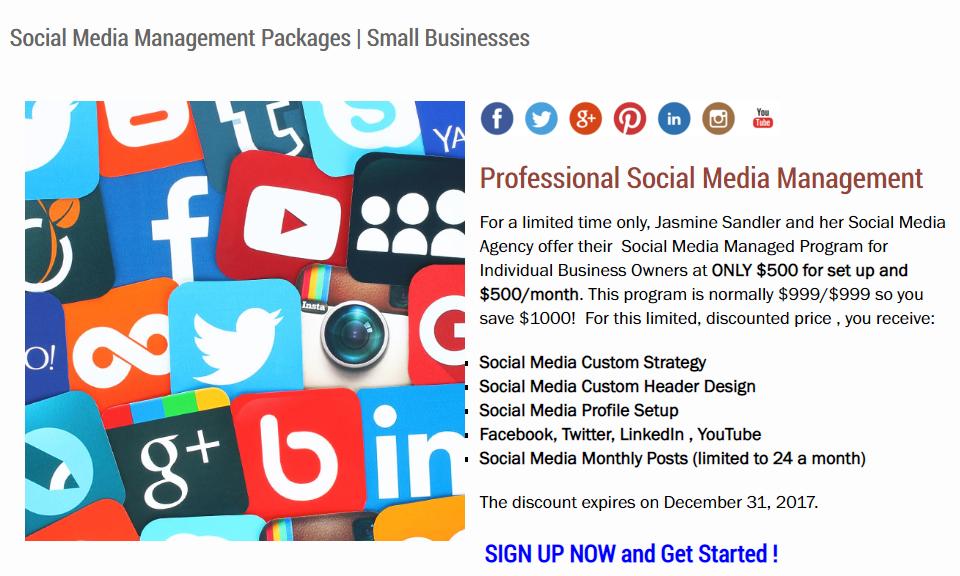 Jasmine Sandler's Social Media Management Package options