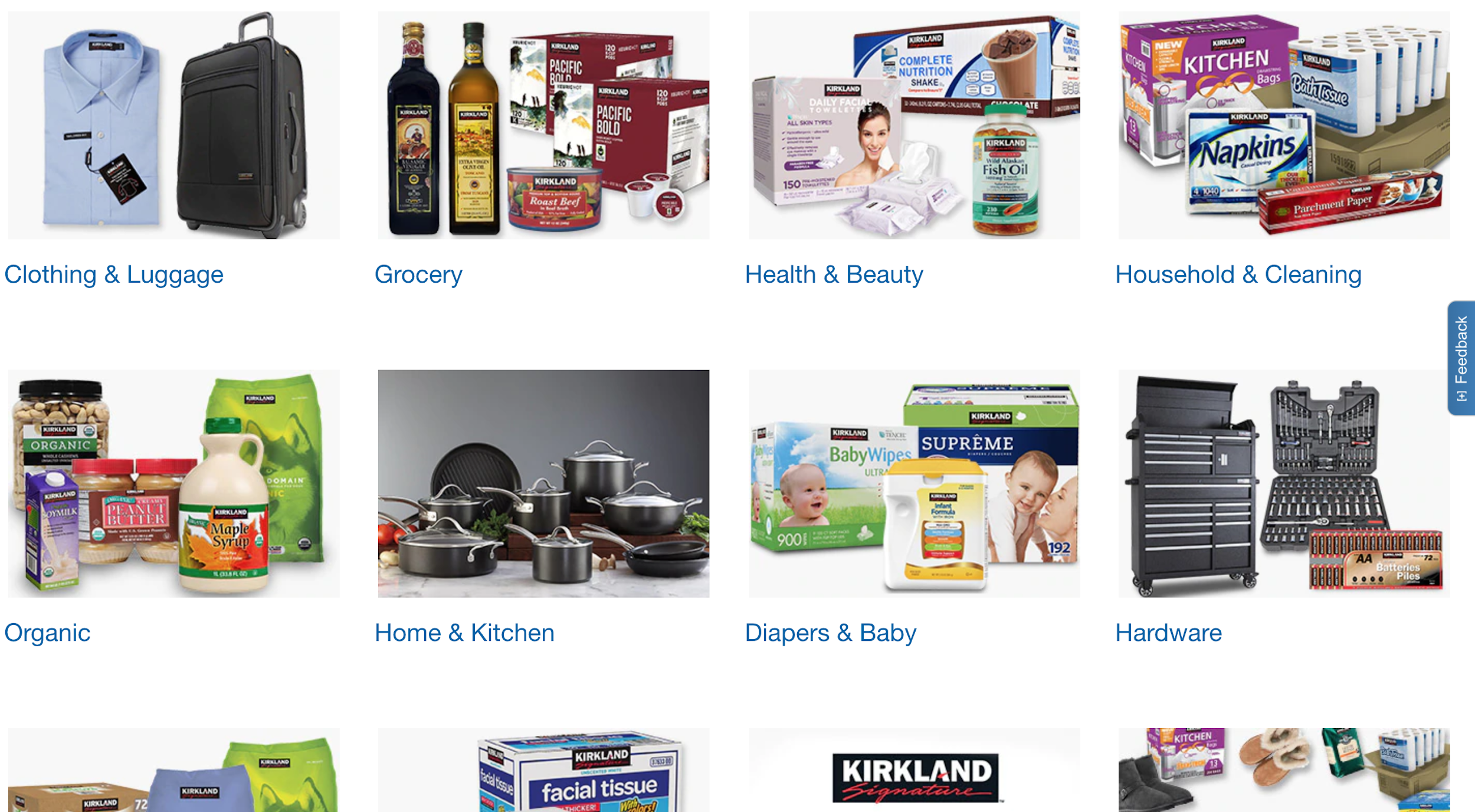 Screenshot of Costco's product categories on their website