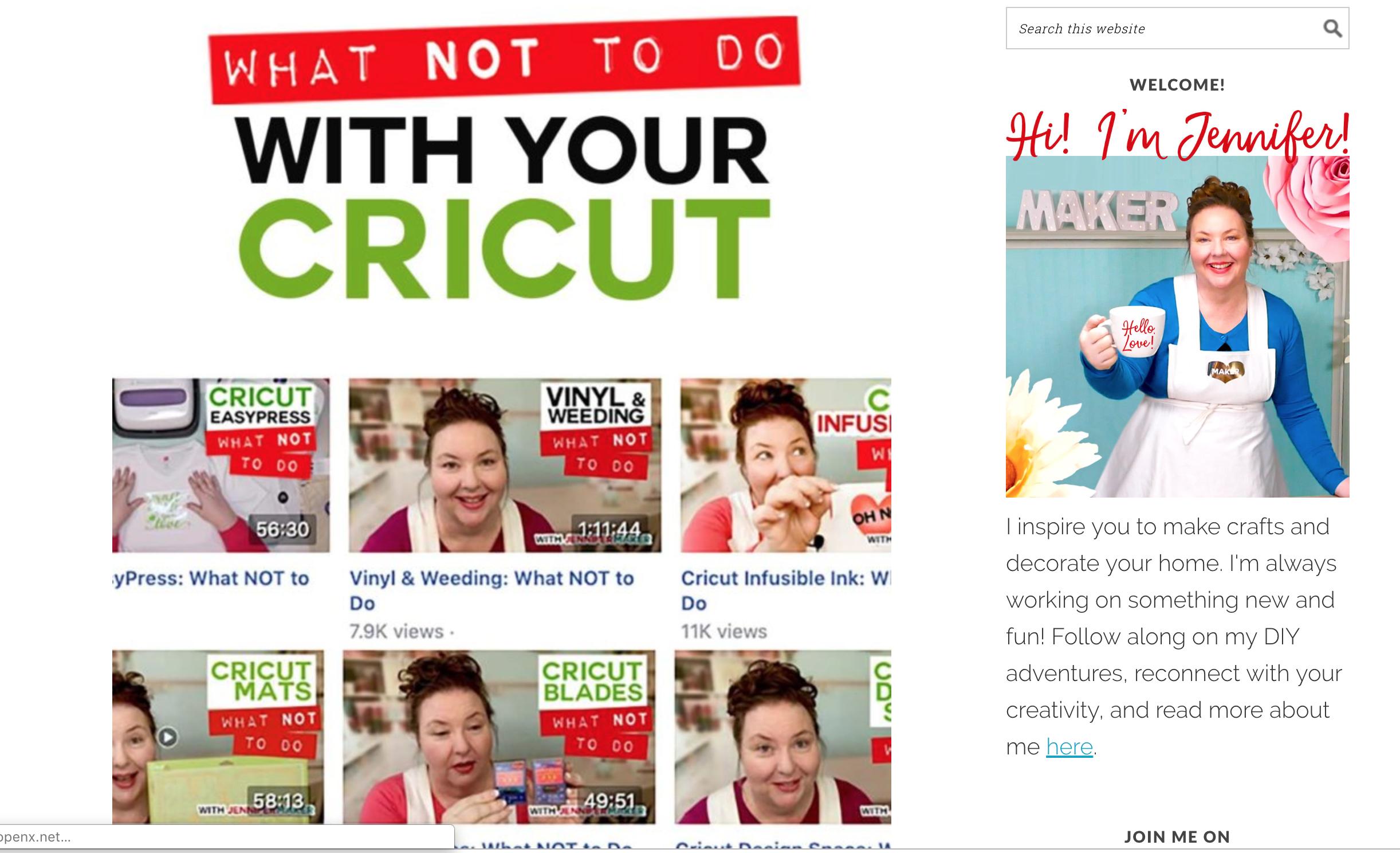 Screenshot of Jennifer Maker's blog
