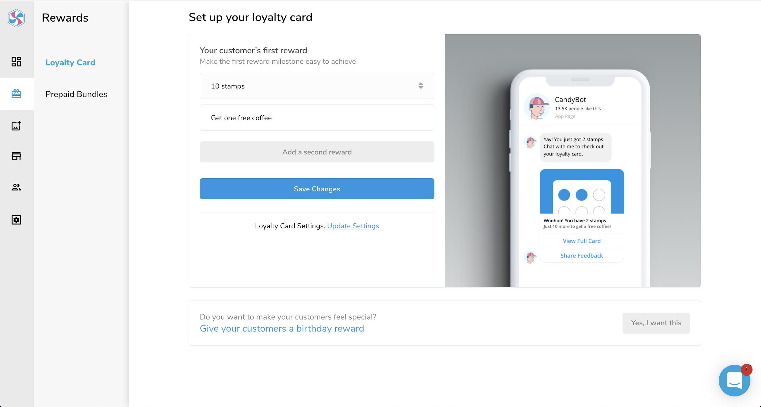 Creating a customer reward in CandyBar