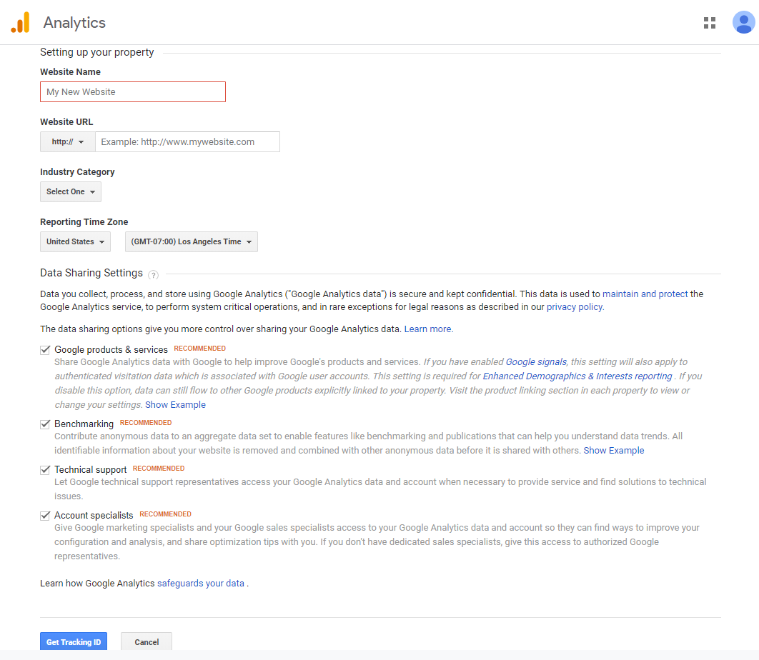 Screenshot of how to set up property on Google Analytics