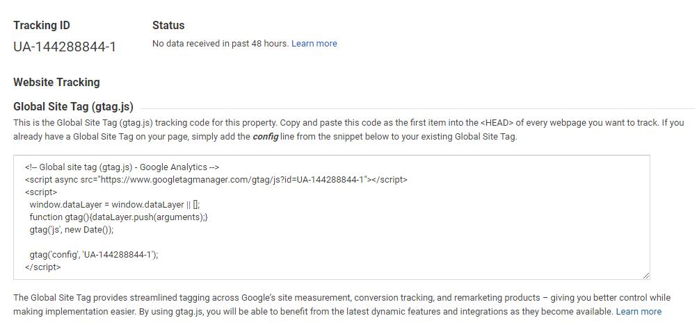 Screenshot of a Google Analytics tracking ID