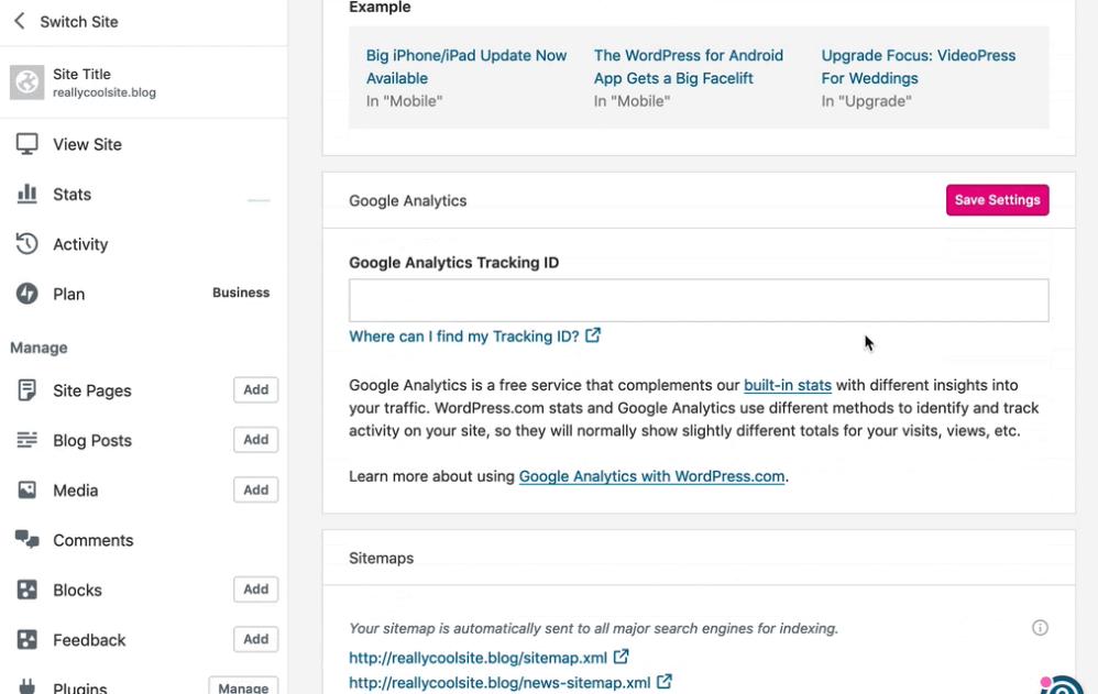 Screenshot of connecting Google Analytics to WordPress