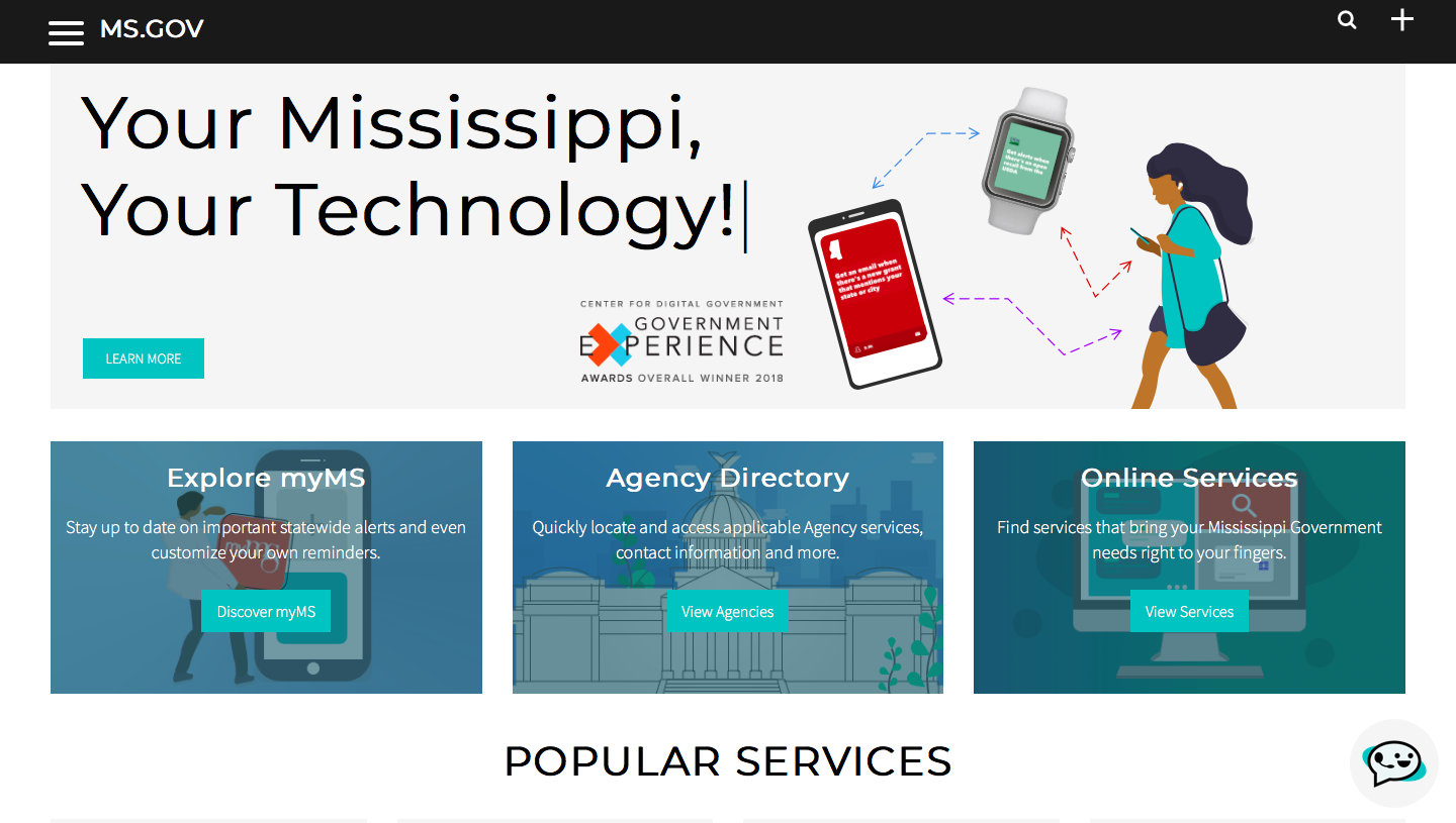 MS.gov Website Homepage