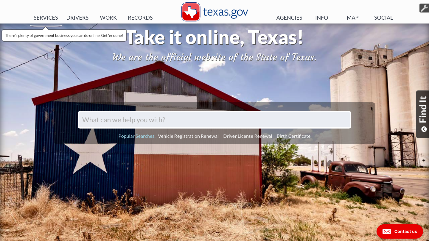 Texas Government Website Homepage