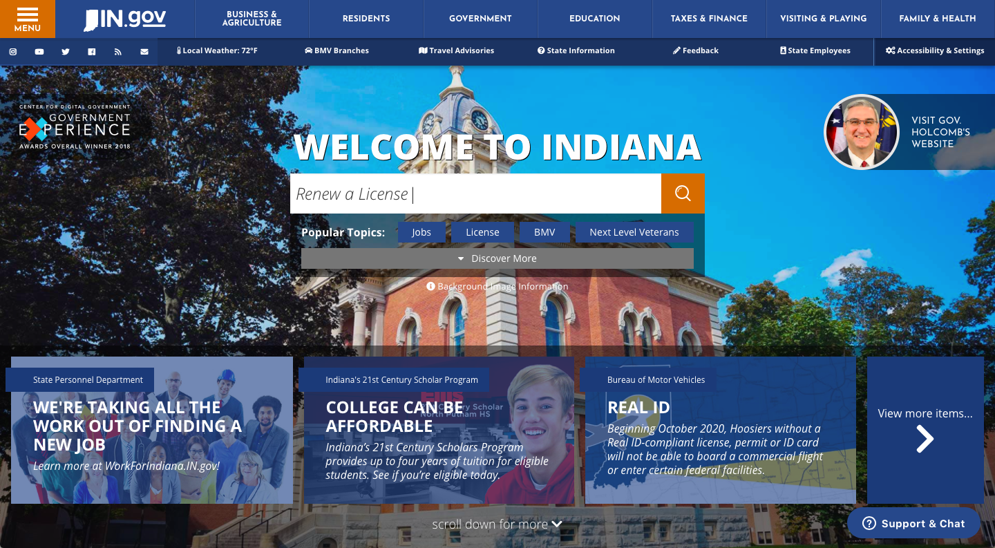 Indiana State Government Website Homepage