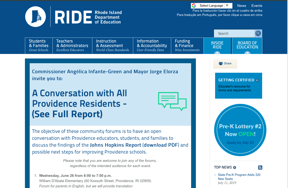 Rhode Island State Website Homepage