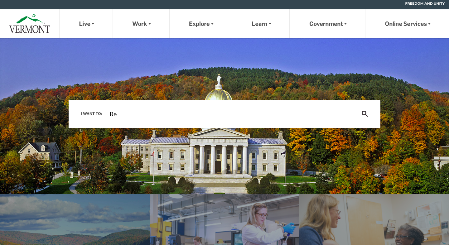 Vermont State Government Website Homepage