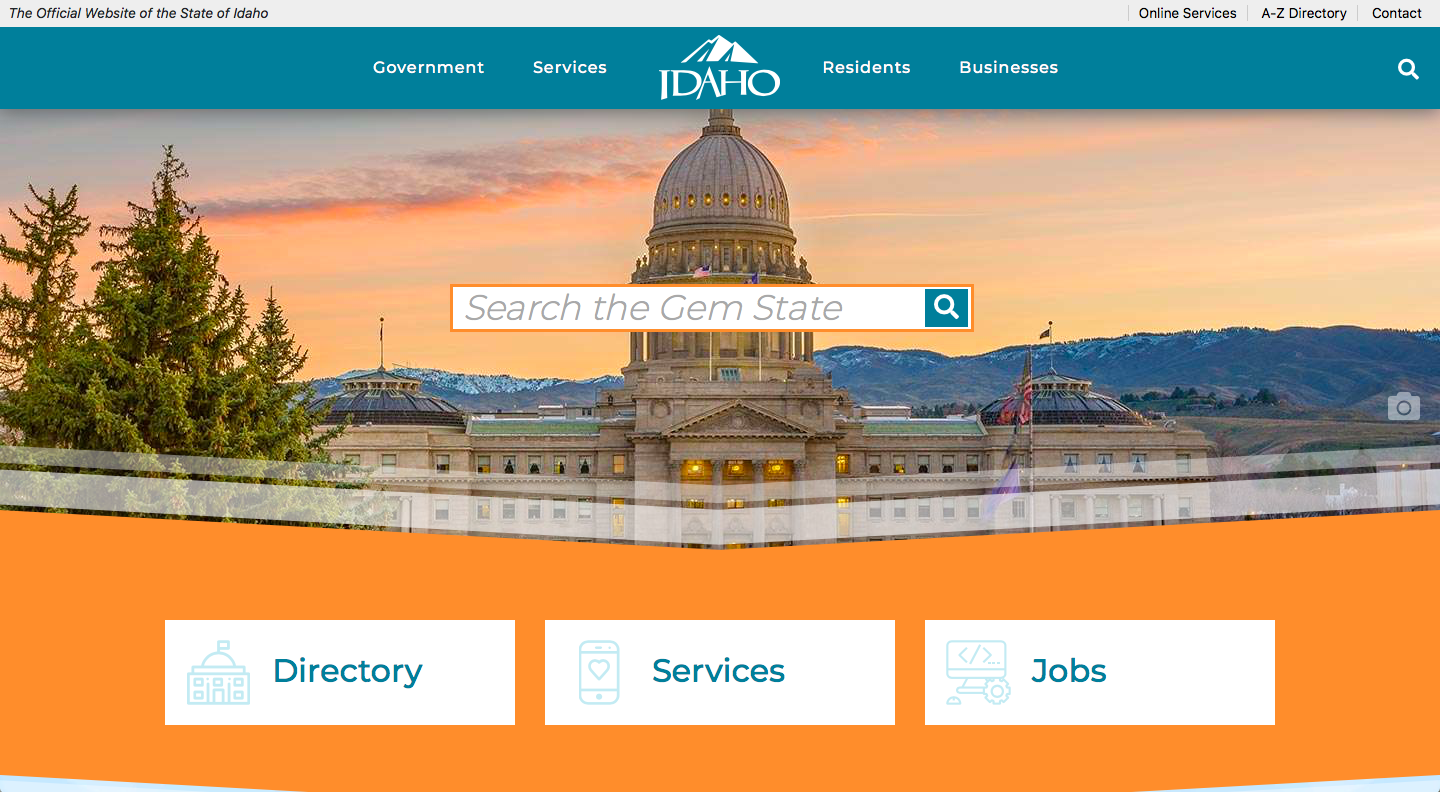 Idaho State Government Website Homepage