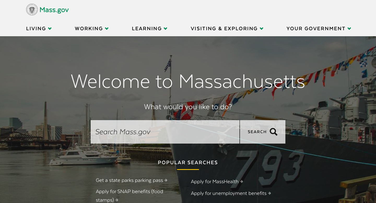 Massachusetts State Government Website Homepage