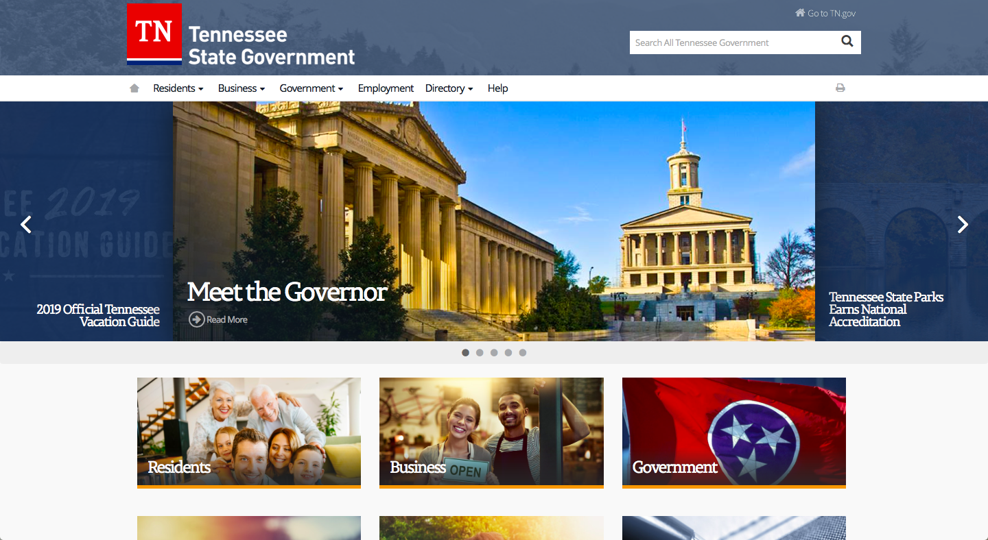 Tennessee State Government Website Homepage