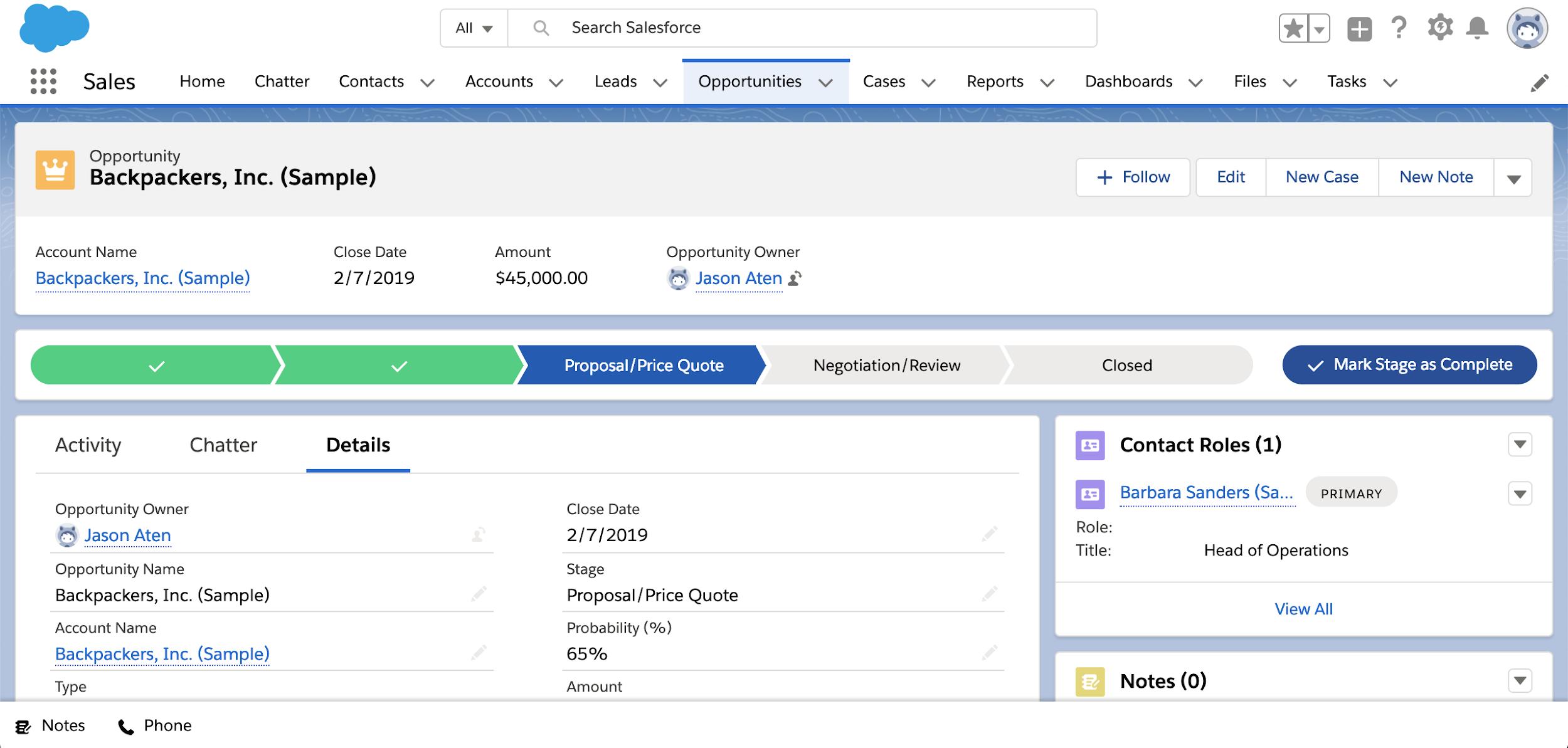 Salesforce Essentials sales opportunities interface