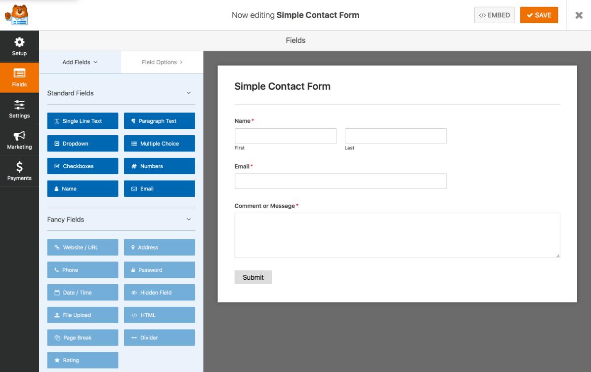 WPForms drag-and-drop interface