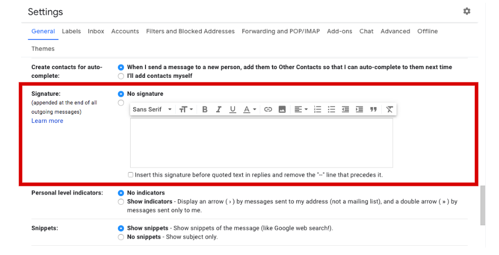 gmail signature field
