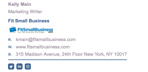 Example of a professional email signature
