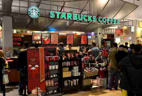 an example of Starbuck's point of sale display, offering branded products