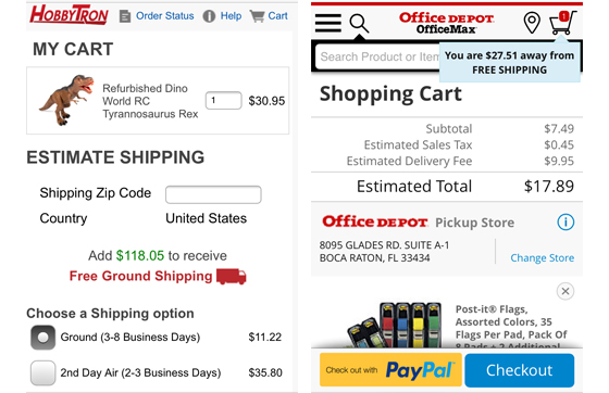 examples of call outs on a website's cart telling users how much they need to buy to get free shipping