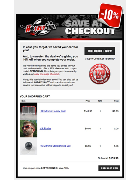 an example of an email reminding users of the items they added to their cart, but ultimately did not purchase