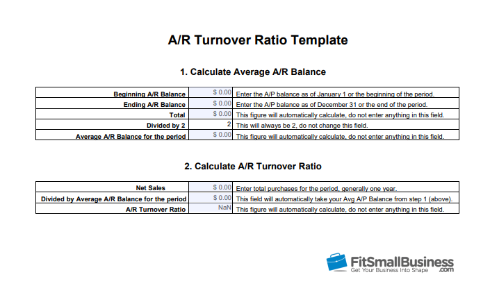 a/r turnover ratio template