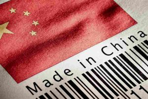 China Flag and a barcode