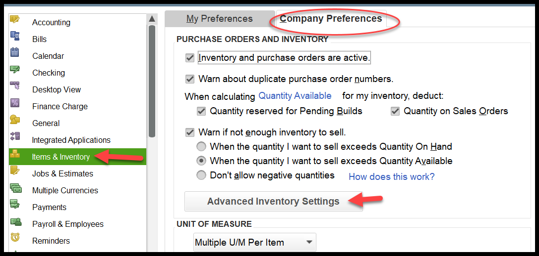 how to navigate to inventory preferences in quickbooks