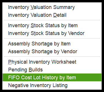 how to run the FIFO Cost Lot History by Item Report in QuickBooks