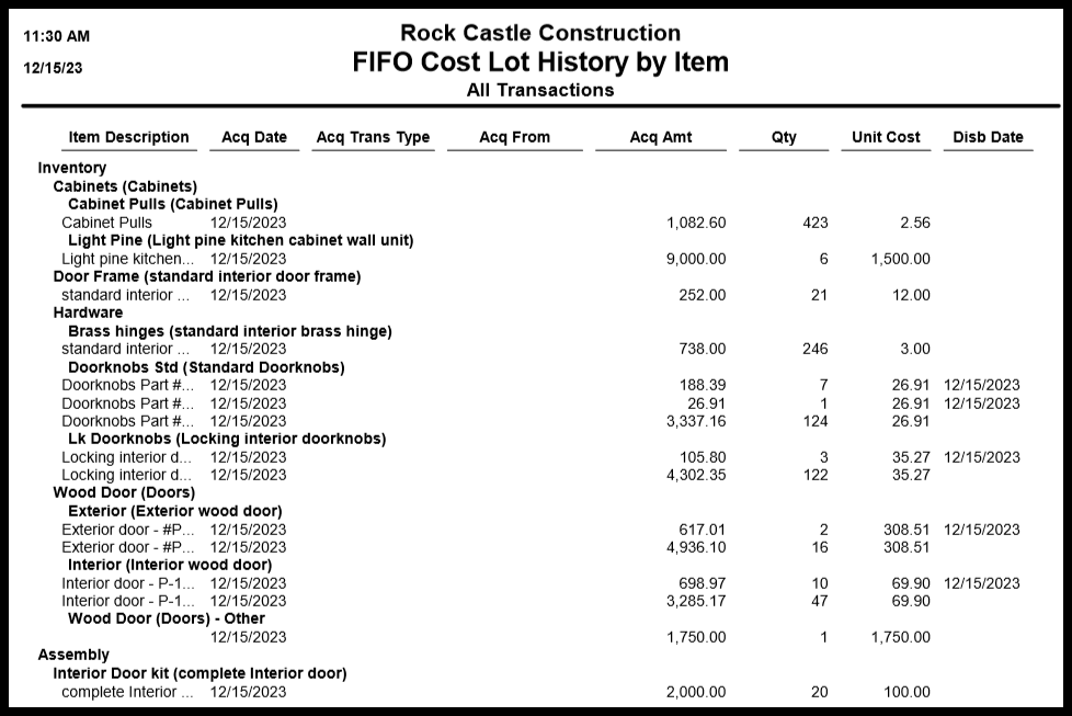 an example of a fifo cost lot history by item report