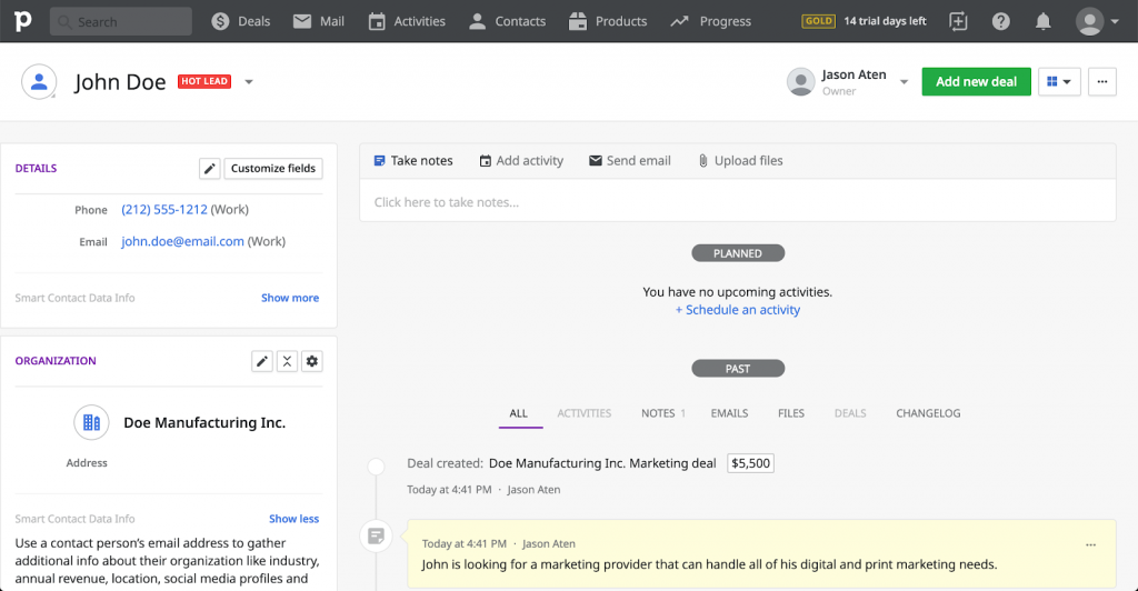 Pipedrive contact editor page