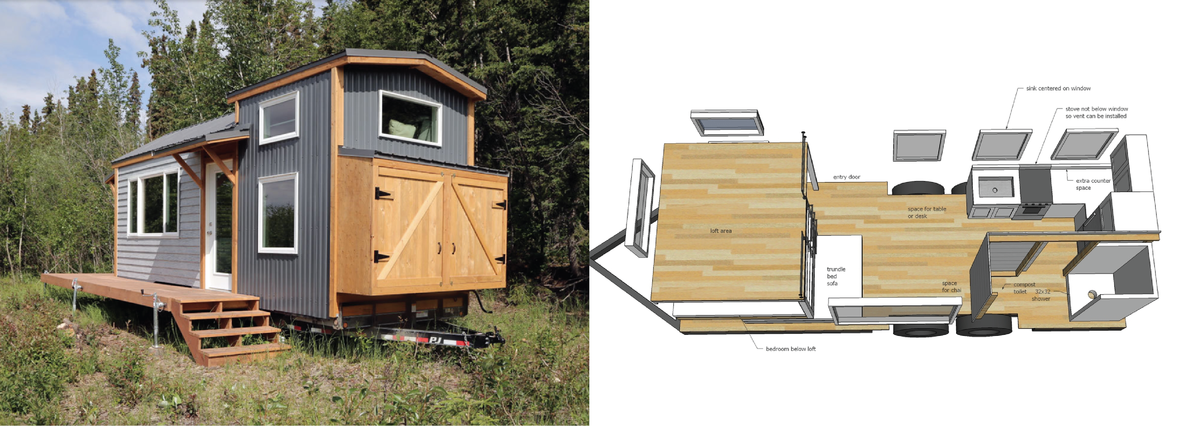Plans and completed Quartz tiny house from Ana White